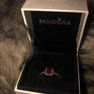 PANDORA SQUARE SPARKLE RUBY RING